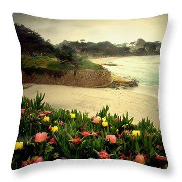 Carmel Beach And Iceplant Throw Pillow by Joyce Dickens