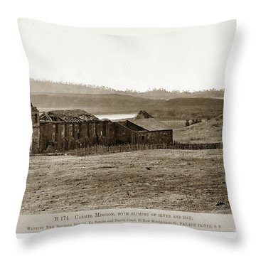 Carmel Mission, With Glimpse Of River And Bay Circa 1880 Throw Pillow