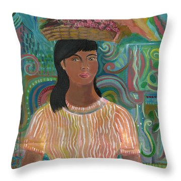 Throw Pillow featuring the painting Carmelita by John Keaton