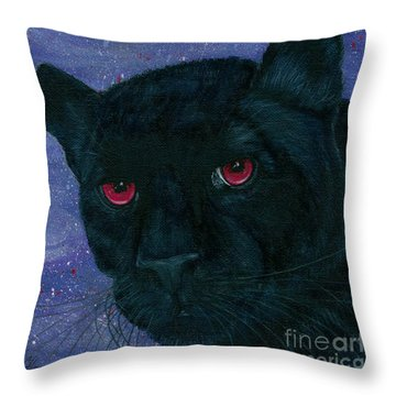 Throw Pillow featuring the painting Carmilla - Black Panther Vampire by Carrie Hawks