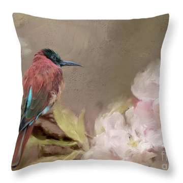Carmine Bee-eater Throw Pillow by Eva Lechner