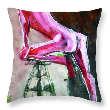 Throw Pillow featuring the painting Carmine Figure No. 3 by Nancy Merkle