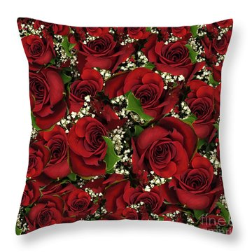 Carmine Roses Throw Pillow