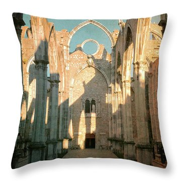 Carmo Ruins In Lisbon Throw Pillow