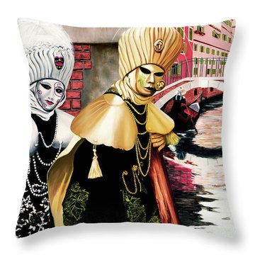 Carnevale Venezia - Prints From Original Oil Painting Throw Pillow