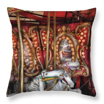 Carnival - The Carousel Throw Pillow by Mike Savad