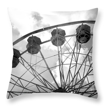 Throw Pillow featuring the photograph Carnival Ferris Wheel Black And White Print - Carnival Rides Ferris Wheel Black And White Art Prints by Kathy Fornal
