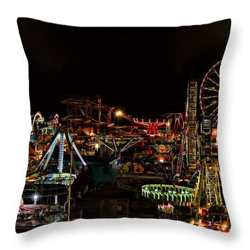 Throw Pillow featuring the photograph Carnival Midway by Linda Constant