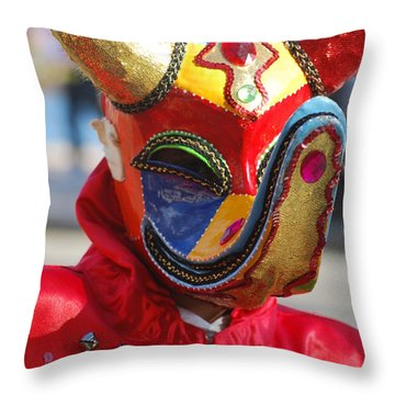 Carnival Red Duck Portrait Throw Pillow by Heather Kirk