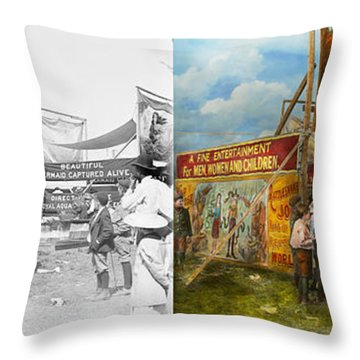 Carnival - Wild Rose And Rattlesnake Joe 1920 - Side By Side Throw Pillow by Mike Savad