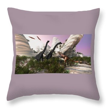 Carnotaurus Attack Throw Pillow by Corey Ford