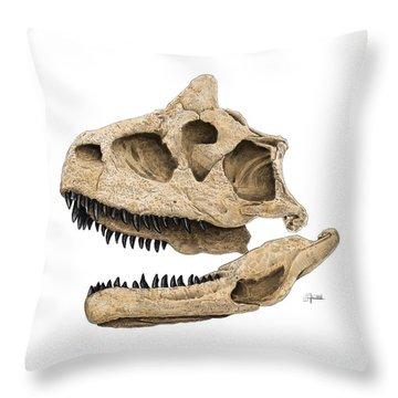 Carnotaurus Skull Throw Pillow