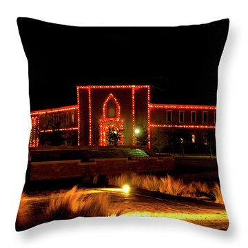 Throw Pillow featuring the photograph Carol Of Lights At Science Building by Mae Wertz