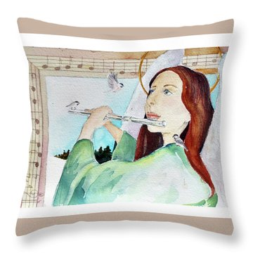 Carol Of The Birds Throw Pillow