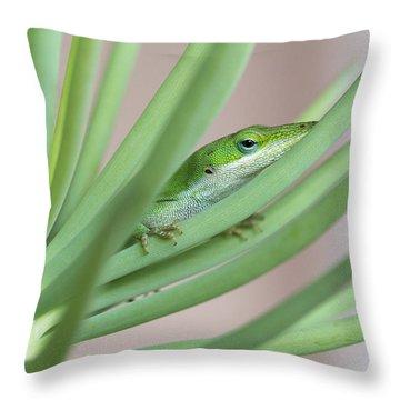 Carolina Anole Throw Pillow