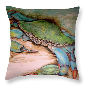 Carolina Blue Crab Throw Pillow