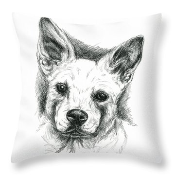 Carolina Dog Charcoal Portrait Throw Pillow
