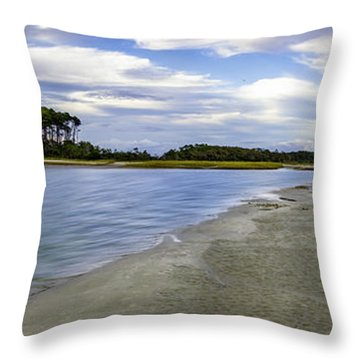 Carolina Inlet At Low Tide Throw Pillow