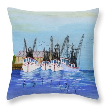 Carolina Shrimpers Throw Pillow by Bill Hubbard
