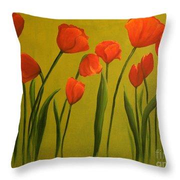 Carolina Tulips Throw Pillow by Carol Sweetwood