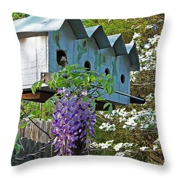 Carolina Wisteria Bird Hotel Throw Pillow