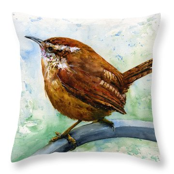 Carolina Wren Large Throw Pillow