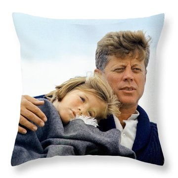 Throw Pillow featuring the painting Caroline Kennedy And President Kennedy by Celestial Images
