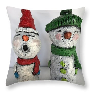 Caroling Snowmen Throw Pillow