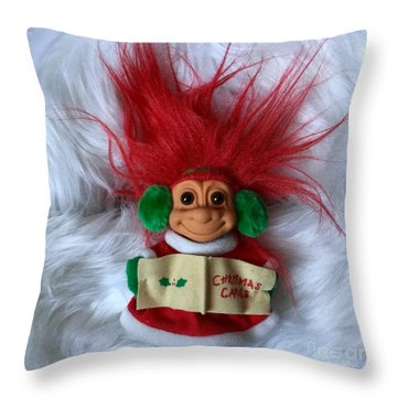 Caroling Troll Christmas 2015 Throw Pillow by Patricia E Sundik