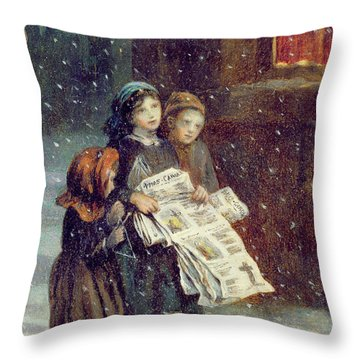 Carols For Sale  Throw Pillow by Augustus Edward Mulready