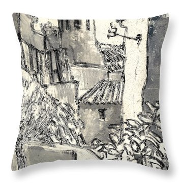 Throw Pillow featuring the painting Caromb Village In Provence by Martin Stankewitz