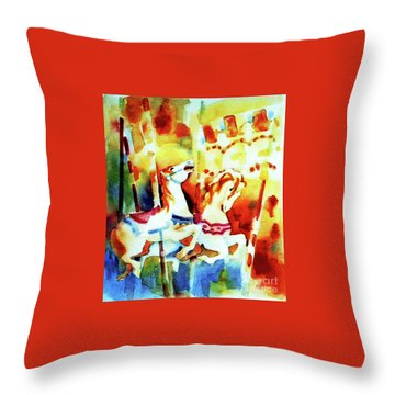 Throw Pillow featuring the painting Carousal 4 by Kathy Braud