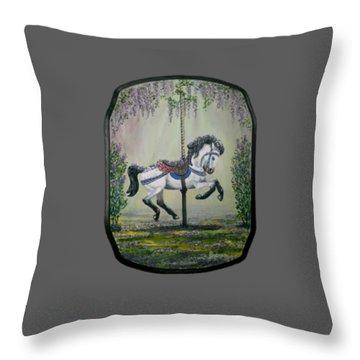 Carousel Garden The White Buckskin Stallion Throw Pillow