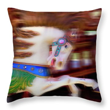 Carousel Horse In Motion Throw Pillow by Garry Gay