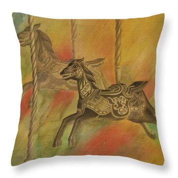 Throw Pillow featuring the drawing Carousel Horses by Lynn Hughes
