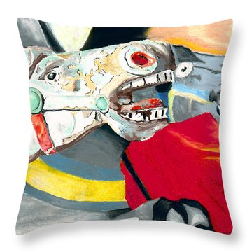 Carousel Horses Throw Pillow by Stephen Anderson