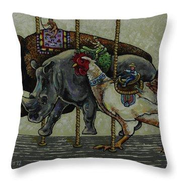Carousel Kids 1 Throw Pillow by Rich Travis