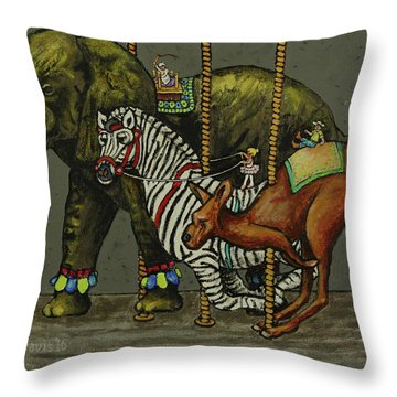 Carousel Kids 2 Throw Pillow by Rich Travis