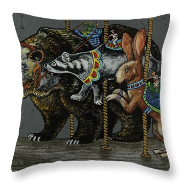Carousel Kids 4 Throw Pillow by Rich Travis
