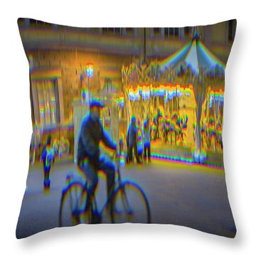 Carousel Lucca Italy Throw Pillow