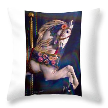 Throw Pillow featuring the photograph Carousel Memories by Marie Hicks