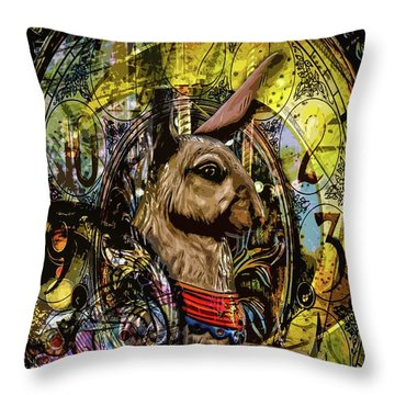 Throw Pillow featuring the photograph Carousel Rabbit by Michael Arend
