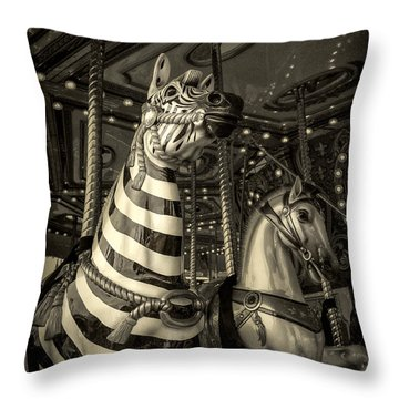 Carousel Zebra Throw Pillow by Caitlyn Grasso