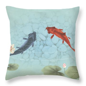 Carp In Lily Pond Throw Pillow