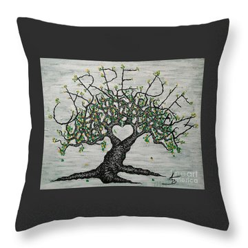 Throw Pillow featuring the drawing Carpe Diem Love Tree by Aaron Bombalicki