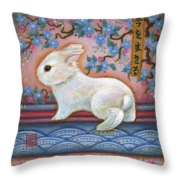 Carpe Diem Rabbit Throw Pillow by Retta Stephenson