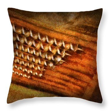Carpenter - Auger Bits  Throw Pillow by Mike Savad