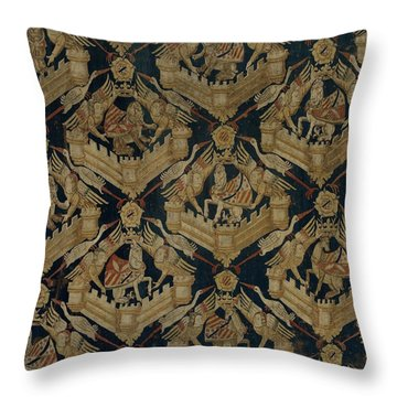 Textile Tapestry Carpet With The Arms Of Rogier De Beaufort Throw Pillow