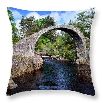 Carr Bridge Scotland Throw Pillow by Don and Bonnie Fink