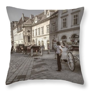 Carriages Back To Stephanplatz Throw Pillow